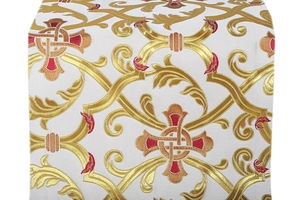 Forged Cross metallic brocade (white/gold with red)
