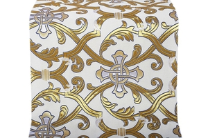 Forged Cross metallic brocade (white/gold with silver and blue)