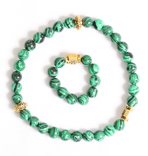 Orthodox prayer rope set (30 + 10 knots) - Malachite