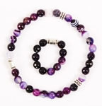 Orthodox prayer rope set (30 + 10 knots) - Purple agate