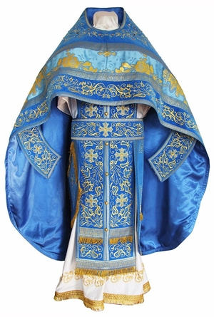 Embroidered Russian Priest vestments - Iris (blue-gold)