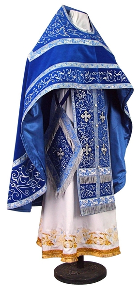 Embroidered Russian Priest vestments - Iris (blue-silver)