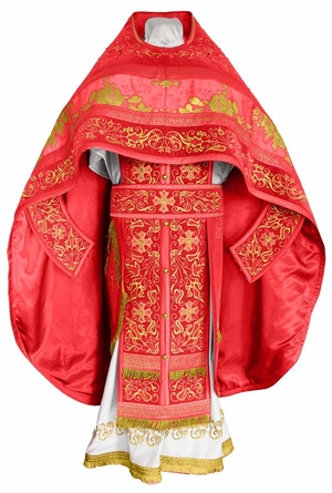 Embroidered Russian Priest vestments - Iris (red-gold)
