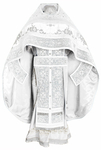 Embroidered Russian Priest vestments - Iris (white-silver)