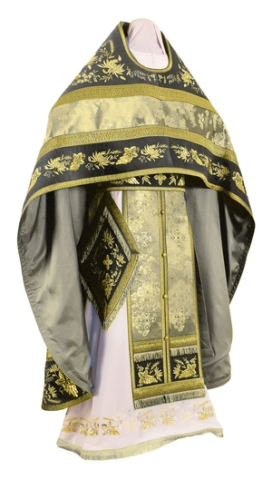 Embroidered Russian Priest vestments - Chrysanthemum (black-gold)