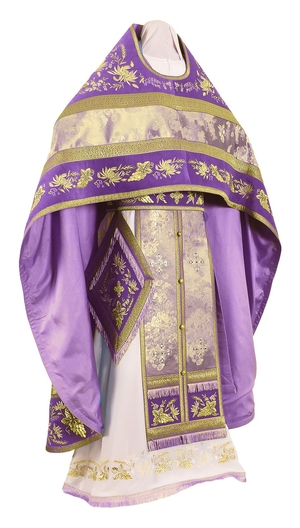 Embroidered Russian Priest vestments - Chrysanthemum (violet-gold)