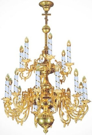 Two-level church chandelier - 22 (18 lights)