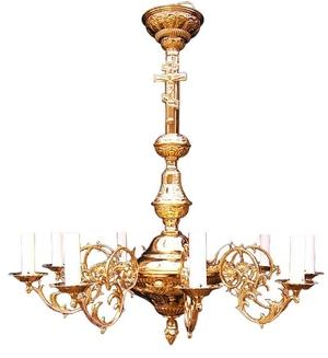 One-level church chandelier (9 lights)
