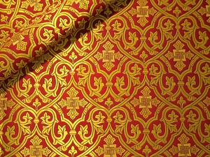 Slavonic Cross Greek metallic brocade (red/gold)