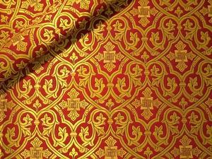 Slavonic Cross Greek metallic brocade (red/gold)