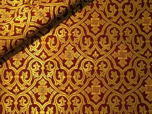 Slavonic Cross Greek metallic brocade (claret/gold)