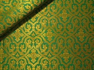 Slavonic Cross Greek metallic brocade (green/gold)