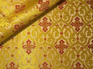 Slavonic Cross Greek metallic brocade (white/gold with red)