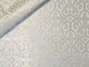 Slavonic Cross Greek metallic brocade (white/silver)