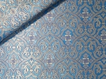 Slavonic Cross Greek metallic brocade (blue/silver)