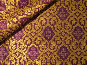 Slavonic Cross Greek metallic brocade (violet/gold with purple)