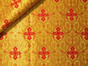 Slavonic Cross Greek metallic brocade (yellow/gold with red)