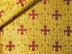 Slavonic Cross Greek metallic brocade (yellow/gold with claret)