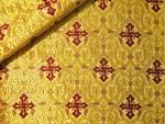 Slavonic Cross Greek metallic brocade (yellow/gold with claret)