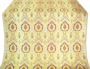 Hellenic Bouquet Greek metallic brocade (white/gold with claret)