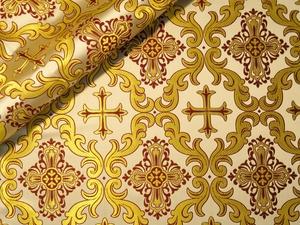 Roman Cross Greek metallic brocade (white/gold with claret)