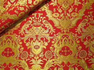 Imperial Peacocks Greek metallic brocade (red/gold)