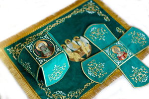 Fully Embroidered chalice covers (veils) - Pentecost, Holy Trinity  with St. Seraphim and st. Nicholas