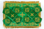 Embroidered chalice covers (veils)-green old pattern