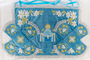 Chalice covers (veils) with the Icon of Most Holy Theotokos (blue sky)