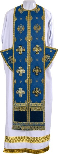 Epitrakhilion set - metallic brocade B (blue-gold)