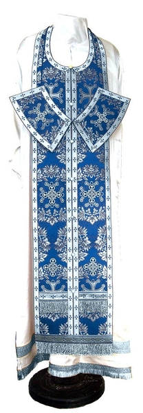 Epitrakhilion set - metallic brocade BG5 (blue-silver)