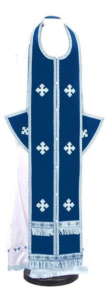 Epitrakhilion set - natural German velvet (blue-silver)