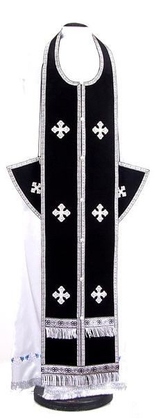 Epitrakhilion set - natural German velvet (black-silver)