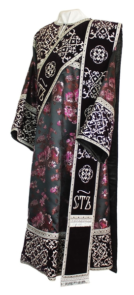 Embroidered Deacon vestments - Wattled (violet-silver)