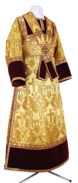 Subdeacon vestments - metallic brocade BG5 (yellow-claret-gold)