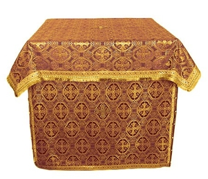 Holy Table vestments - brocade B (claret-gold)
