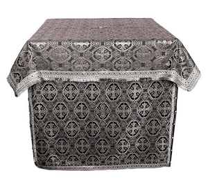 Holy Table vestments - brocade B (black-silver)