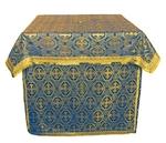 Altar Table vestments - brocade B (blue-gold)