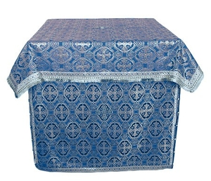 Altar Table vestments - brocade B (blue-silver)