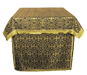 Altar Table vestments - brocade B (black-gold)