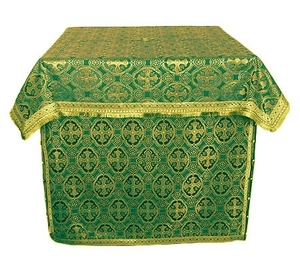 Altar Table vestments - brocade B (green-gold)