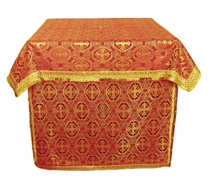Altar Table vestments - brocade B (red-gold)