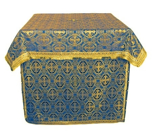 Altar Table vestments - brocade BG4 (blue-gold)