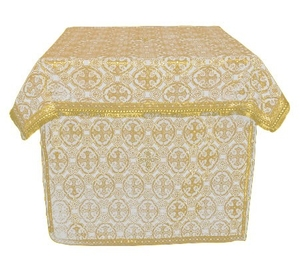 Altar Table vestments - brocade BG6 (white-gold)