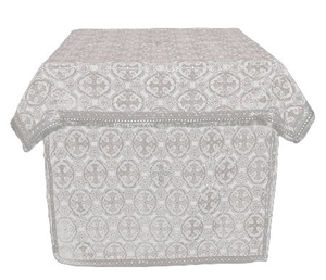 Altar Table vestments - brocade BG6 (white-silver)