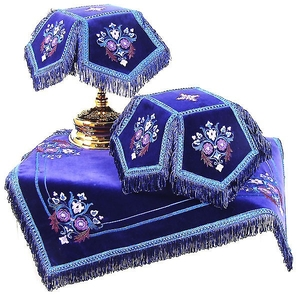 Embroidered chalice covers (veils) - Balaam (violet-silver)