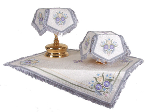 Embroidered chalice covers (veils) - Balaam (white-silver)