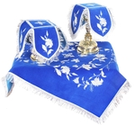 Embroidered chalice covers (veils) - Lily (blue-silver)