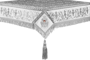 Embroidered Holy table cover no.1 (br.) (white-silver)