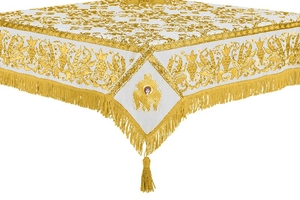 Embroidered Holy table cover no.1 (comb.) (white-gold)